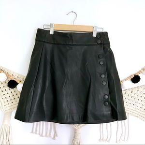 ZARA Black Faux Leather Side Button Mini Skirt